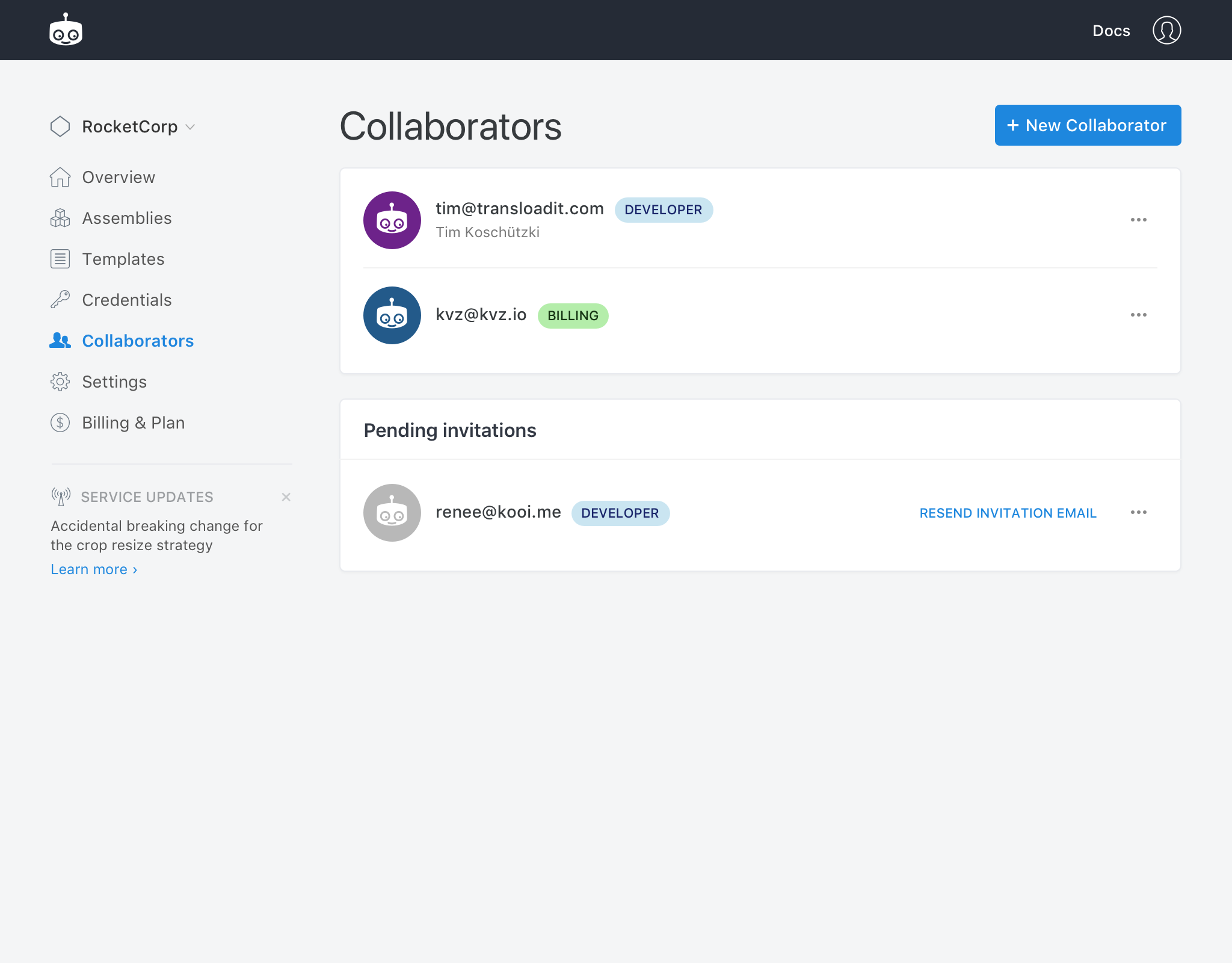 The new Collaborator feature
