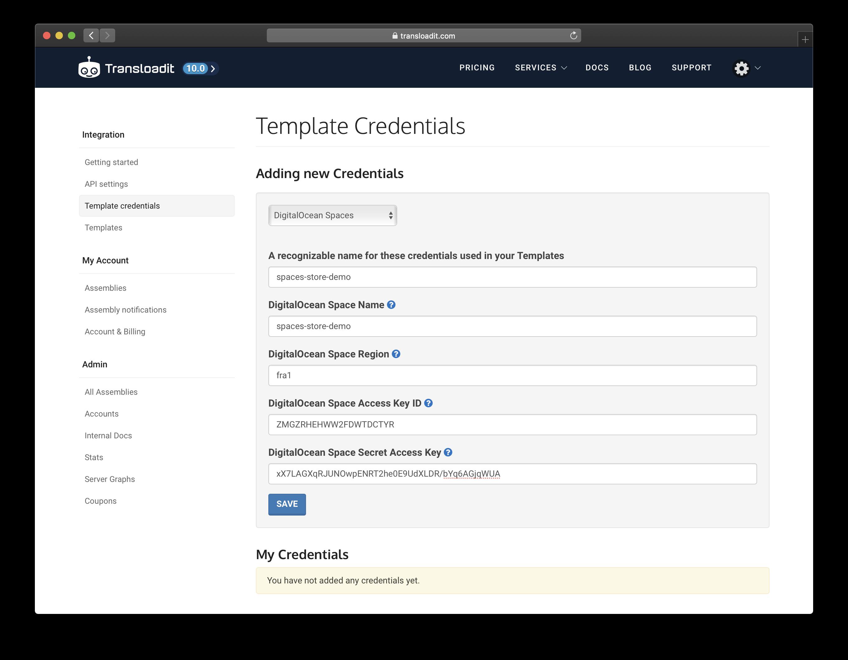 Create Template Credentials